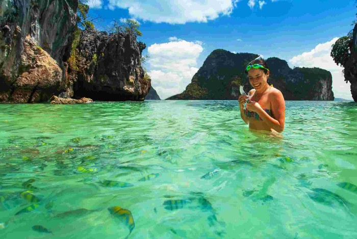 Woman snorkelling in Thailand.