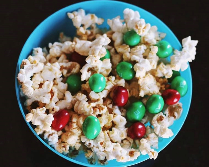 Combinations of candies and popcorn make for sweet and salty treats.